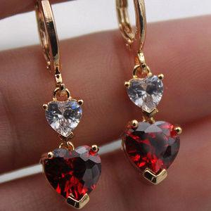18k YGF Ruby Red Topaz Zircon 2 Hearts Earrings
